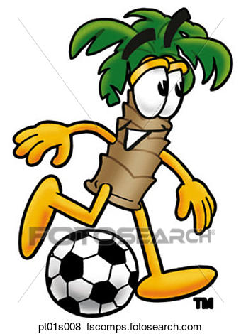 340x470 Clip Art Of Palm Tree Playing Soccer Pt01s008