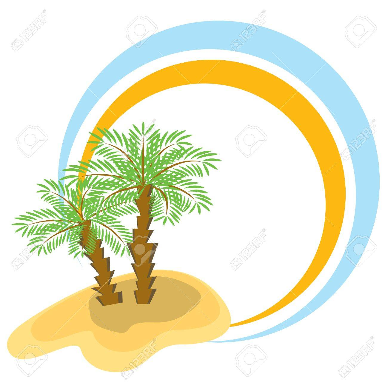1300x1300 Color Frame With Two Palm Trees. Vector Illustration. Royalty Free