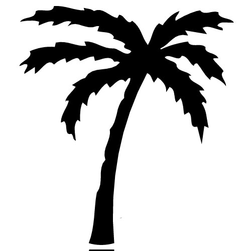 500x500 Palm Tree Clip Art Black And White Clipart