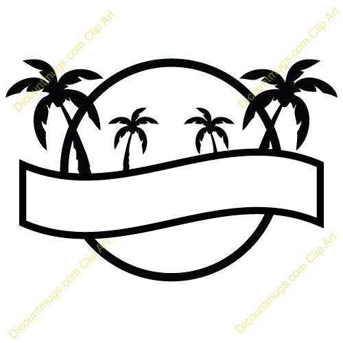500x500 Clipart 12391 Palm Trees Sun Template