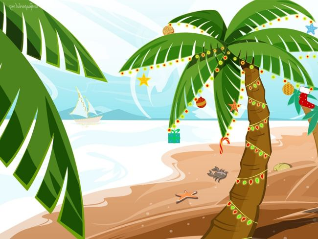 650x488 Palm Tree With Christmas Lights Clipart