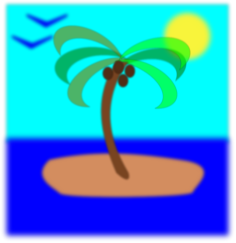 775x800 Palm Tree On Island Clip Art