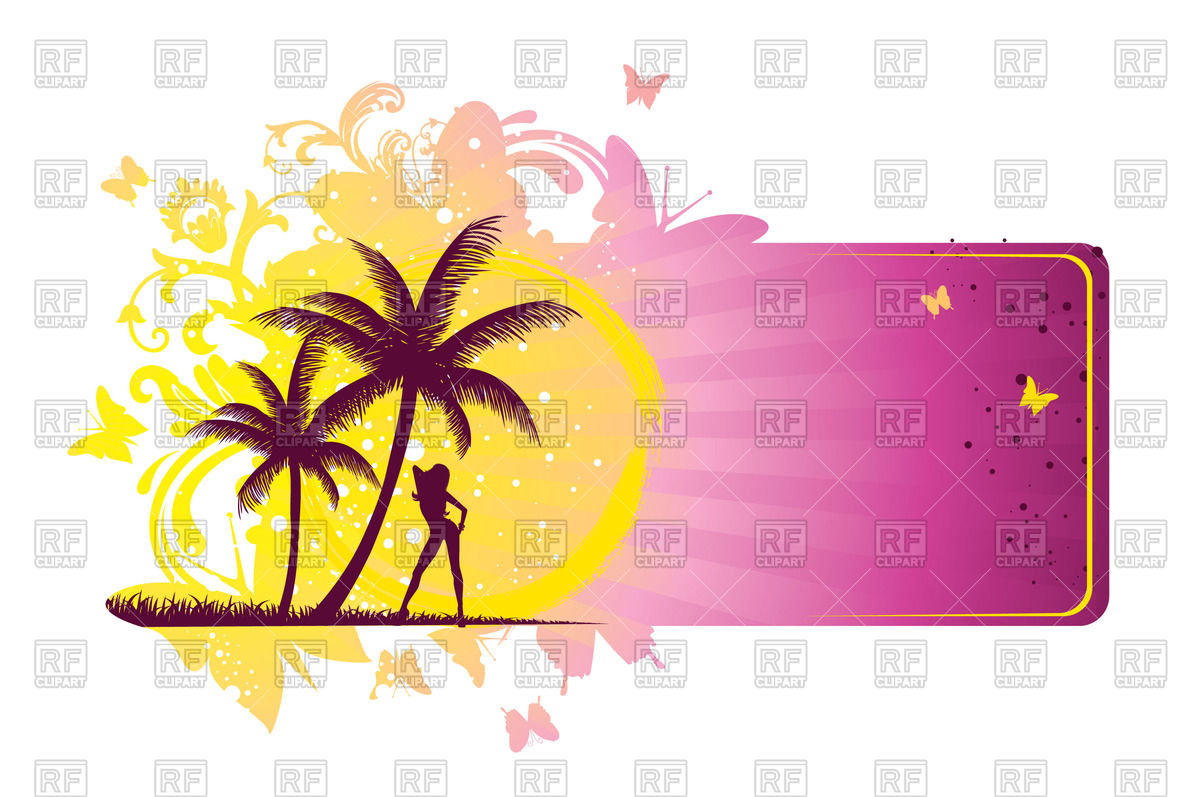 1200x797 Summer Banner With Woman, Sun And Palm Trees Royalty Free Vector