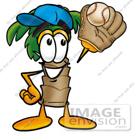 450x450 Clip Art Graphic Of A Tropical Palm Tree Cartoon Character