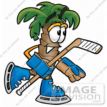 450x450 Clip Art Graphic Of A Tropical Palm Tree Cartoon Character Playing