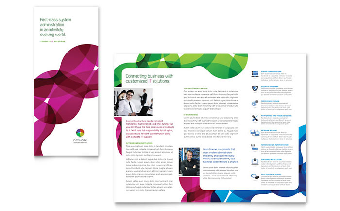 700x434 Network Administration Tri Fold Brochure Template Design