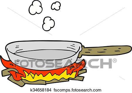 450x316 Clipart Of Cartoon Frying Pan On Fire K34658184