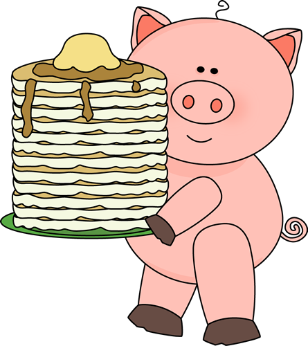 445x500 Pig With Pancakes Clip Art