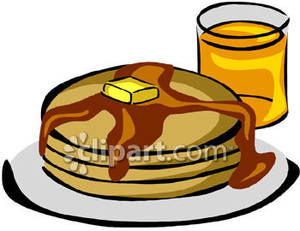 300x231 Covered Pancakes With Orange Juice Royalty Free Clipart Picture
