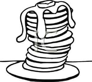 300x268 Free Clipart Image Black And White Tall Stack Of Pancakes With Syrup