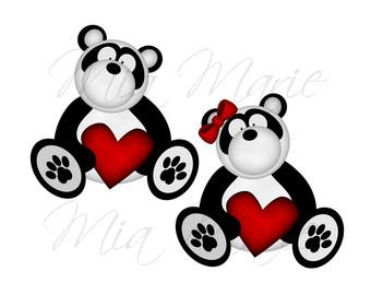 340x270 Panda Bear Clip Art And Digital Paper Set Panda Clipart