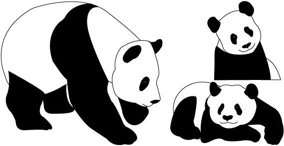 569x294 Panda Bear Outline Free Vector Download (5,339 Free Vector)