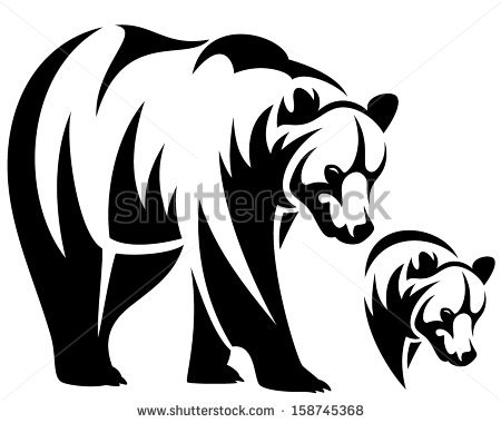 450x380 Walking Bear And Animal Head Black And White Vector Outline Emblem