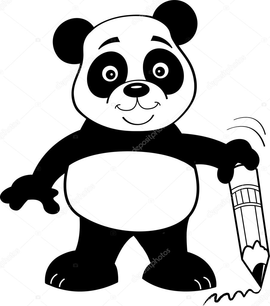 903x1023 Cartoon Panda Bear Holding A Pencil. Stock Vector Kenbenner
