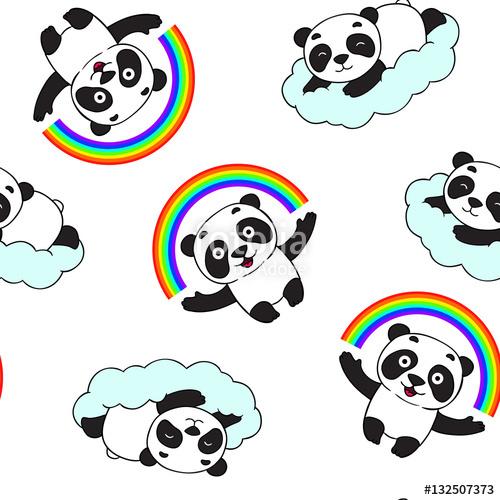 500x500 Doodle Panda Bear Pattern. Panda Is Holding Rainbow, Lying On