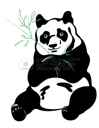 347x450 Giant Panda Bear Eating Bamboo In Forest Royalty Free Cliparts