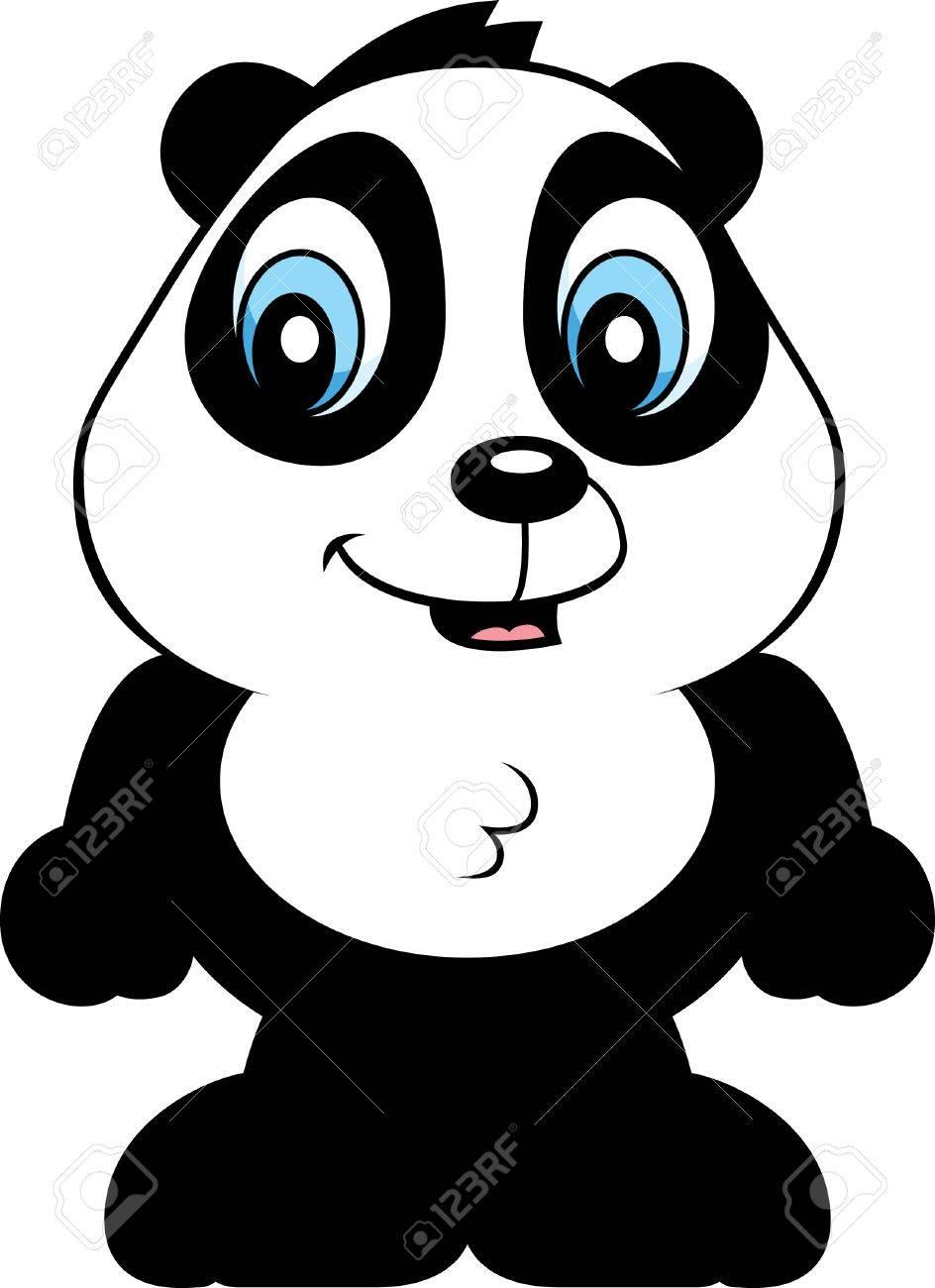 944x1300 A Cartoon Baby Panda Bear Cub Smiling And Happy. Royalty Free