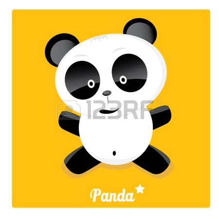 450x450 Panda Bear Vector Illustration. Flat Style Royalty Free Cliparts