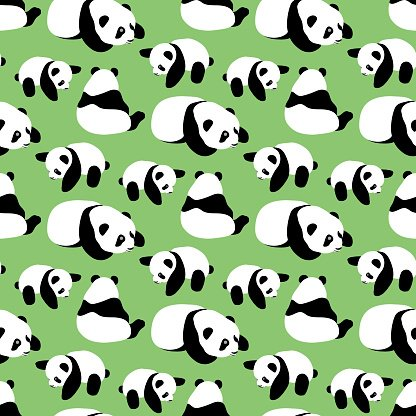 416x416 Panda Bear Vector Seamless Pattern With Cartoon Panda Stock