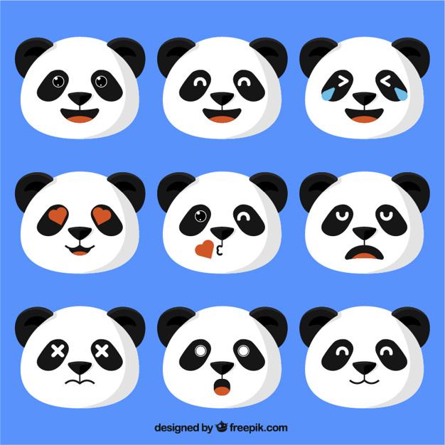 626x626 Panda Bear Emojis In Flat Design Vector Premium Download
