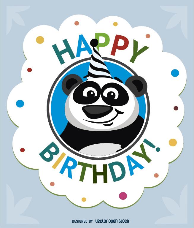 654x768 Birthday Cartoon Panda Card