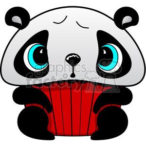300x300 Royalty Free Cupcake Panda Bear In Color 387302 Vector Clip Art