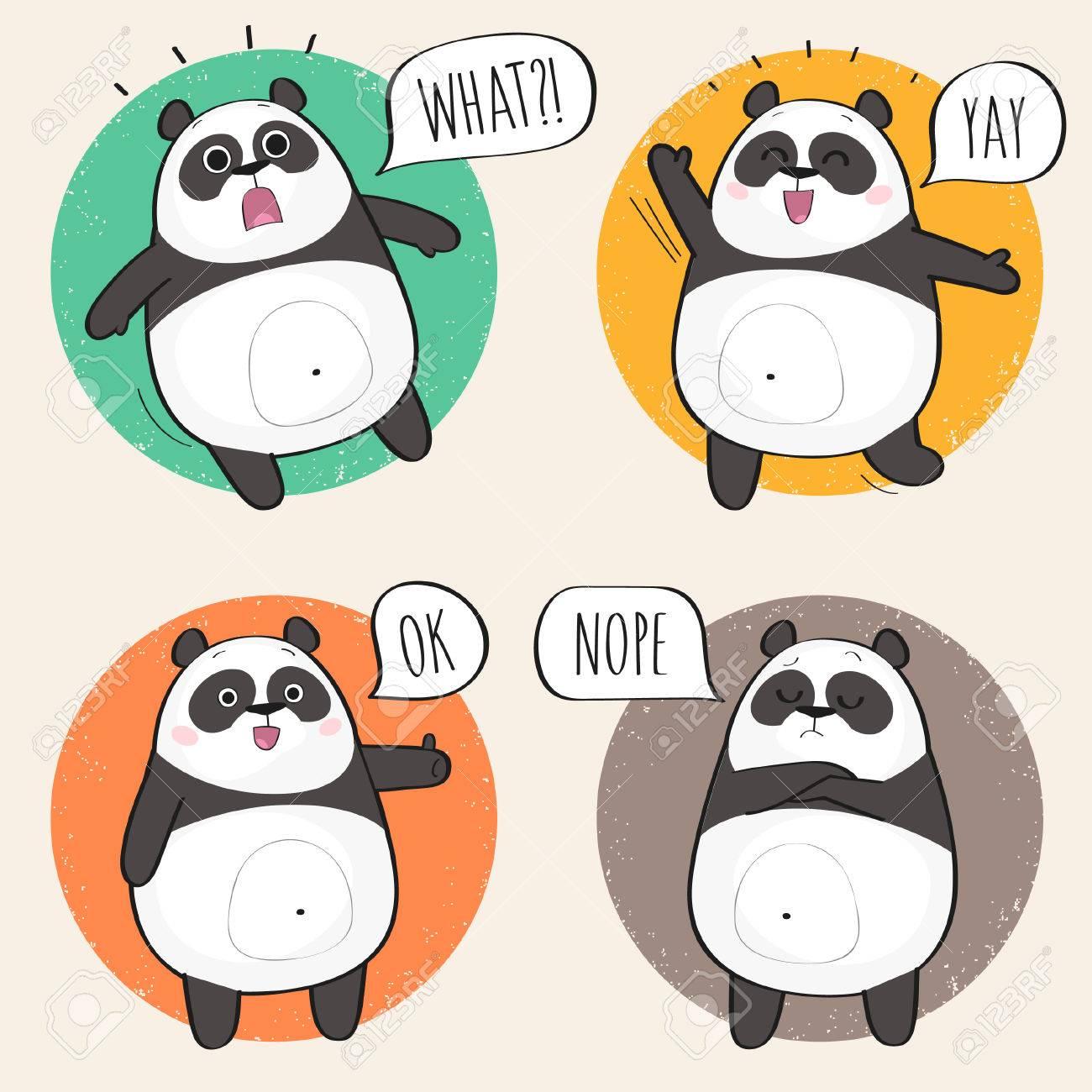 1300x1300 Set Of Cute Panda Bear Stickers In Various Poses. Cartoon Panda