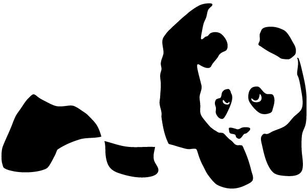 600x375 Vector Panda Bear Stencil 123freevectors
