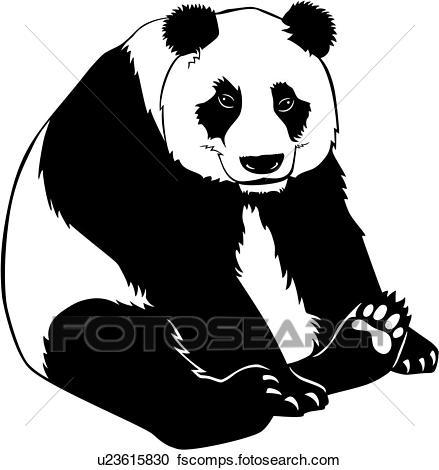 439x470 Clipart Of , Animal, Panda, Bear, U23615830