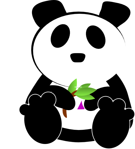 540x595 Panda Eating Bamboo Clipart