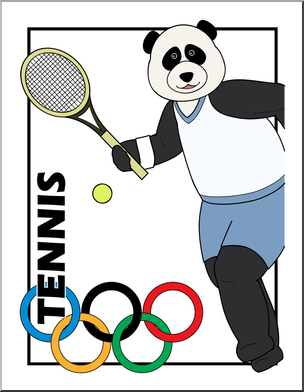 304x392 Clip Art Cartoon Olympics Panda Tennis Color I
