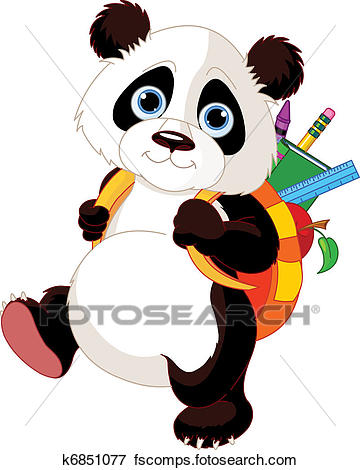360x470 Clip Art Of Cute Panda Go To School K6851077
