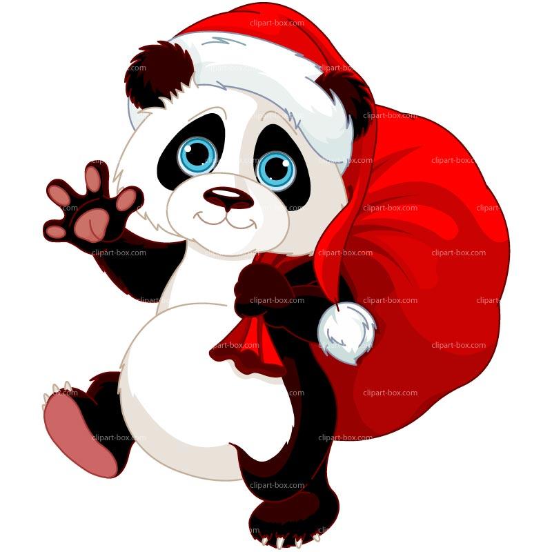800x800 Panda clipart christmas
