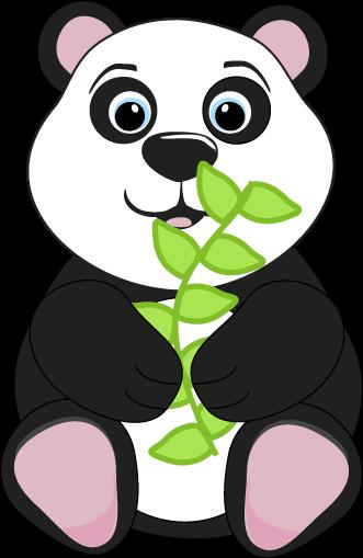 331x509 Panda Bear Eating Leaves Clip Art