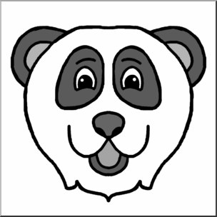 304x304 Clip Art Cartoon Animal Faces Panda Grayscale I