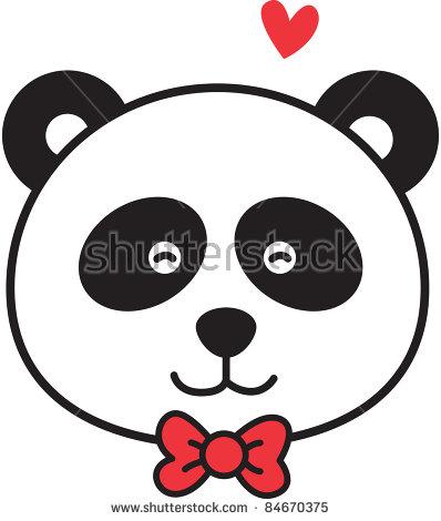 398x470 Panda Head Clipart