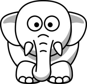 298x285 Baby Elephant Outline Clipart