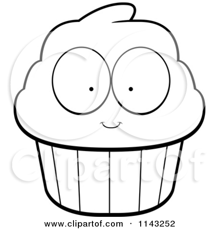 450x470 Black And White Cupcake Outline Clipart