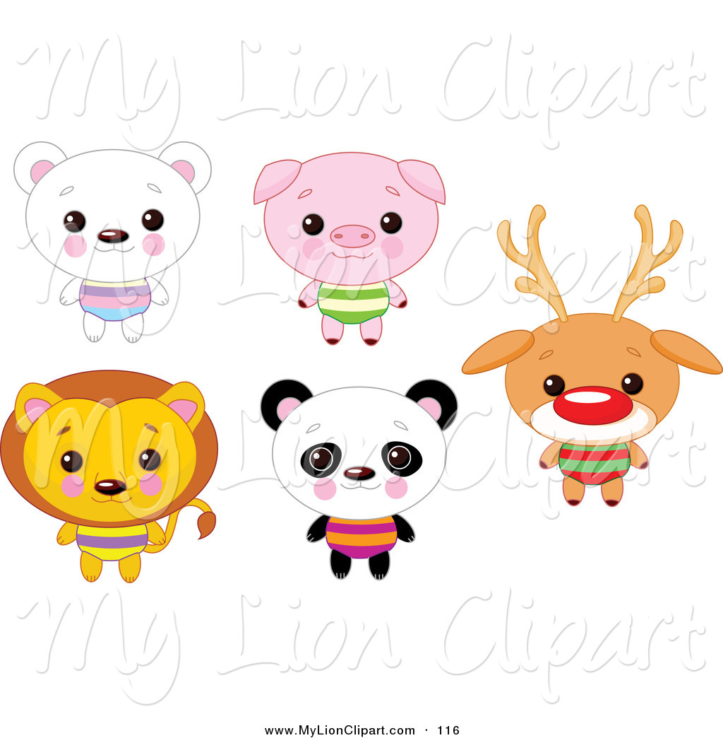 1024x1044 Clipart of a Digital Set of Cute Animals with Big Heads Polar