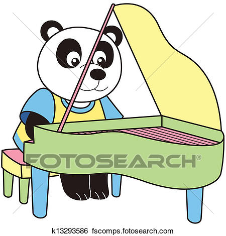 450x470 Clip Art Of Cartoon Panda Playing A Pinao K13293586