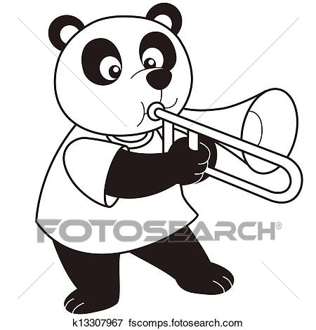 450x470 Clip Art of Cartoon Panda Playing a Trombone k13307967