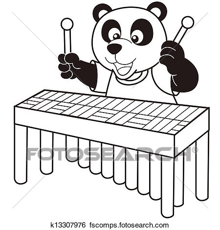 450x470 Clip Art Of Cartoon Panda Playing A Vibraphone K13307976
