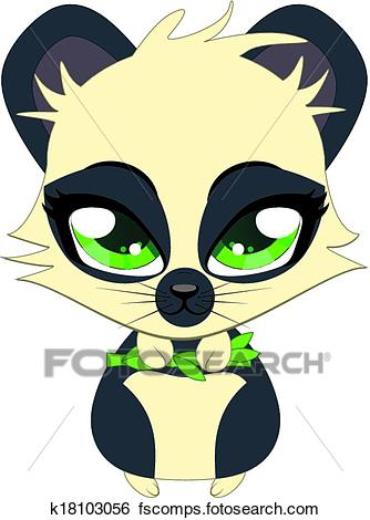 334x470 Clip Art of Cute little panda k18103056