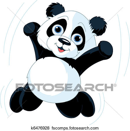 450x454 Clip Art Of Happy Panda K6476928