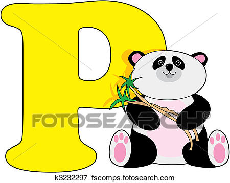 450x358 Clip Art of Letter P with a Panda k3232297