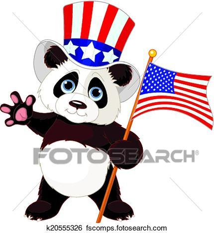 430x470 Clip Art of Panda Holding American Flag k20555326