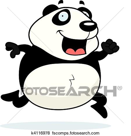 450x470 Clip Art of Panda Running k4116978