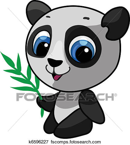 422x470 Clip Art of Vector illustration of a wild panda k6596227