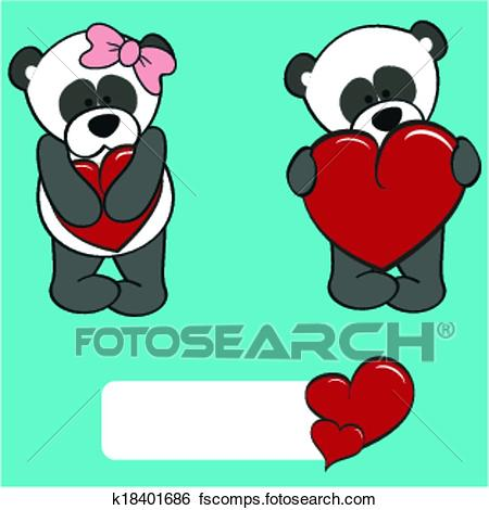 450x470 Clip Art of panda bear valentine cartoon girl a k18401686