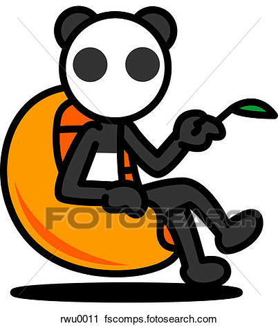 402x470 Clipart of A panda sitting in a chair holding a bamboo leaf